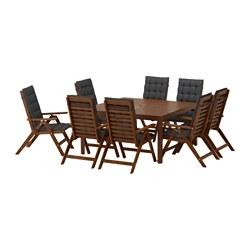 ÄPPLARÖ - 餐檯連8張躺椅組合, 染褐色/Hållö 黑色   IKEA 香港及澳門 - PE583416_S3