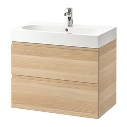 GODMORGON/BRÅVIKEN - wash-stand with 2 drawers, white stained oak effect/Brogrund tap | IKEA Hong Kong and Macau - PE736160_S3