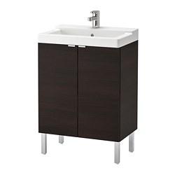 LILLÅNGEN/TÄLLEVIKEN - washbasin cabinet with 2 doors, black-brown/Ensen tap | IKEA Hong Kong and Macau - PE693798_S3