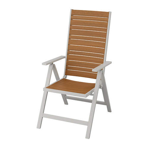 SJÄLLAND - reclining chair, outdoor, light grey foldable/light brown | IKEA Hong Kong and Macau - PE736201_S4