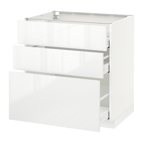METOD - base cabinet with 3 drawers, white Maximera/Ringhult white | IKEA Hong Kong and Macau - PE519119_S4