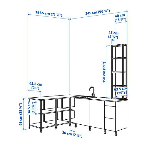 ENHET - 角位廚房, 炭黑色/灰色 框架   IKEA 香港及澳門 - PE789898_S4