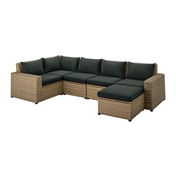 SOLLERÖN - modular corner sofa 4-seat, outdoor, with footstool brown/Hållö black | IKEA Hong Kong and Macau - PE736387_S3