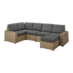 SOLLERÖN - modular corner sofa 4-seat, outdoor, with footstool brown/Frösön/Duvholmen dark grey | IKEA Hong Kong and Macau - PE736385_S3