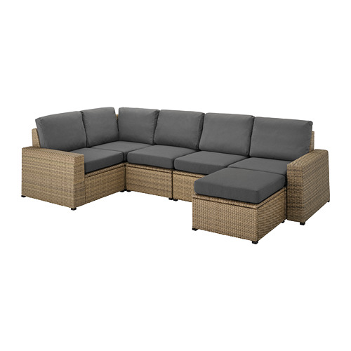 SOLLERÖN - modular corner sofa 4-seat, outdoor, with footstool brown/Frösön/Duvholmen dark grey | IKEA Hong Kong and Macau - PE736385_S4