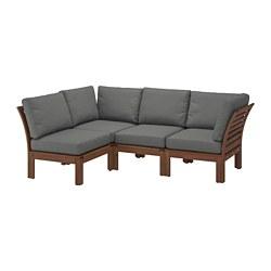 ÄPPLARÖ - modular corner sofa 3-seat, outdoor, brown stained/Frösön/Duvholmen dark grey | IKEA Hong Kong and Macau - PE736409_S3