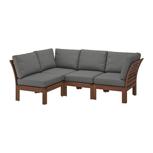 ÄPPLARÖ - modular corner sofa 3-seat, outdoor, brown stained/Frösön/Duvholmen dark grey | IKEA Hong Kong and Macau - PE736409_S4