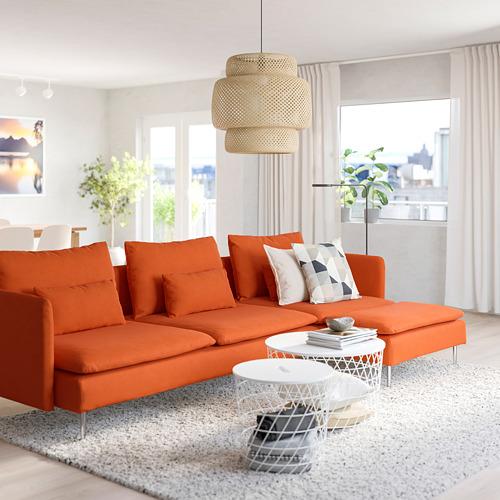 SÖDERHAMN - 4-seat sofa, with chaise longue/Samsta orange | IKEA Hong Kong and Macau - PE790045_S4