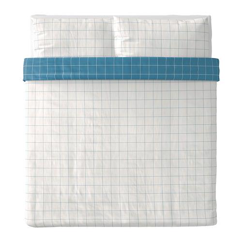 VITKLÖVER - 被套連2個枕袋, 白色 藍色/方格, 240x220/50x80 cm | IKEA 香港及澳門 - PE790076_S4