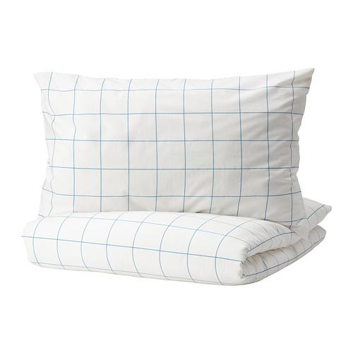 VITKLÖVER - 被套連2個枕袋, 白色 藍色/方格, 240x220/50x80 cm | IKEA 香港及澳門 - PE790061_S4