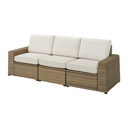 SOLLERÖN - 3-seat modular sofa, outdoor, brown/Frösön/Duvholmen beige | IKEA Hong Kong and Macau - PE736646_S4