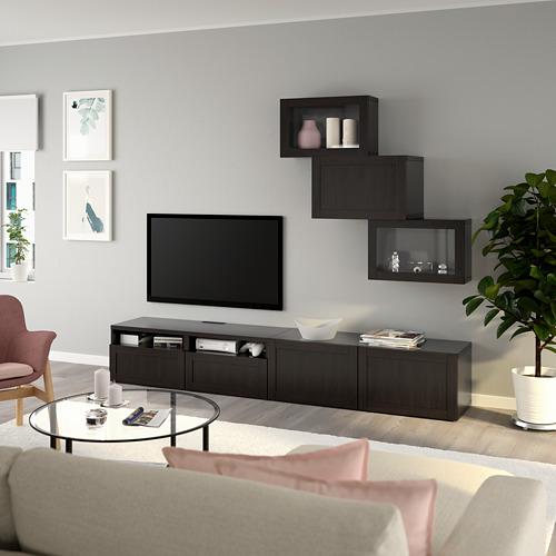 BESTÅ - 電視貯物組合/玻璃門, black-brown/Hanviken black-brown clear glass | IKEA 香港及澳門 - PE736706_S4
