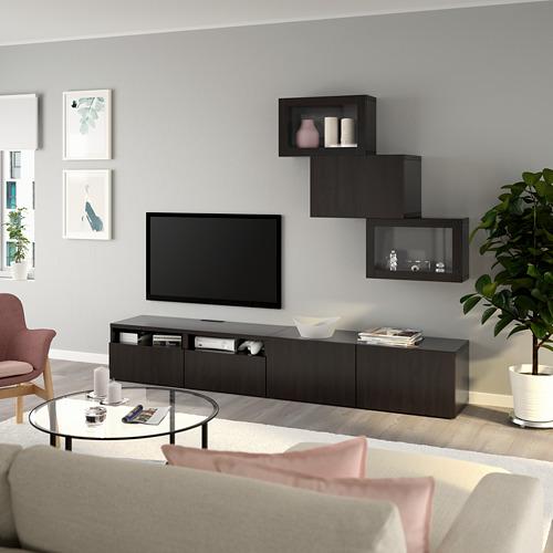 BESTÅ - 電視貯物組合/玻璃門, black-brown/Lappviken black-brown clear glass | IKEA 香港及澳門 - PE736703_S4
