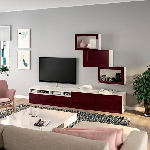 BESTÅ - TV storage combination/glass doors, white Selsviken/dark red-brown clear glass | IKEA Hong Kong and Macau - PE736705_S4