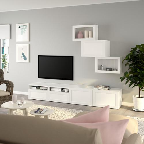 BESTÅ - 電視貯物組合/玻璃門, white/Hanviken white clear glass | IKEA 香港及澳門 - PE736708_S4