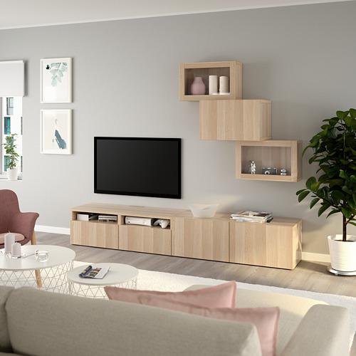 BESTÅ - 電視貯物組合/玻璃門, white stained oak effect/Lappviken white stained oak eff clear glass | IKEA 香港及澳門 - PE736707_S4