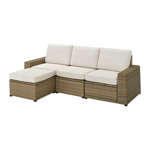 SOLLERÖN - 戶外三座位組合式梳化, 附腳凳 褐色/Frösön/Duvholmen 米黃色   IKEA 香港及澳門 - PE736718_S4