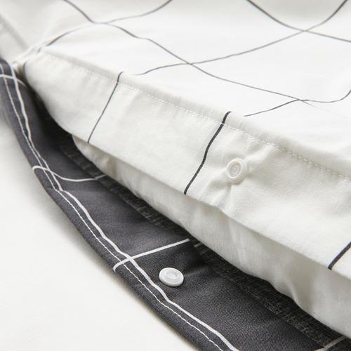 VITKLÖVER - 被套連2個枕袋, 白色 黑色/方格, 200x200/50x80 cm | IKEA 香港及澳門 - PE790202_S4