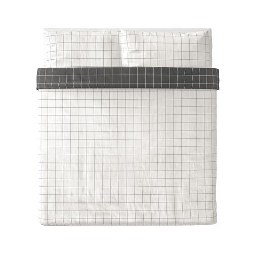 VITKLÖVER - 被套連2個枕袋, 白色 黑色/方格, 240x220/50x80 cm   IKEA 香港及澳門 - PE790192_S4