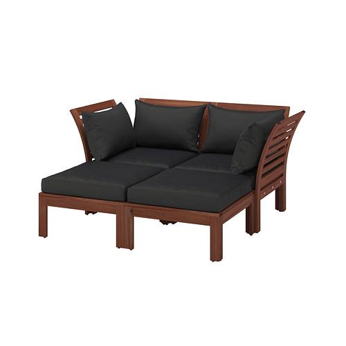 ÄPPLARÖ - 2-seat modular sofa, outdoor, with footstool brown stained/Hållö black   IKEA Hong Kong and Macau - PE736803_S4