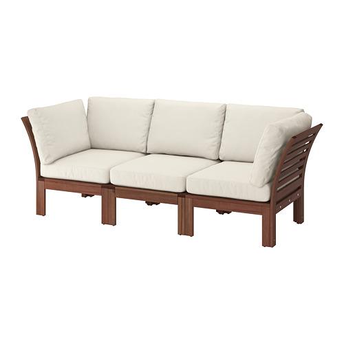 ÄPPLARÖ - 3-seat modular sofa, outdoor, brown stained/Frösön/Duvholmen beige | IKEA Hong Kong and Macau - PE736807_S4