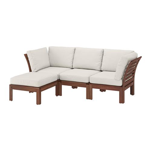 ÄPPLARÖ - 3-seat modular sofa, outdoor, with footstool brown stained/Frösön/Duvholmen beige | IKEA Hong Kong and Macau - PE736810_S4