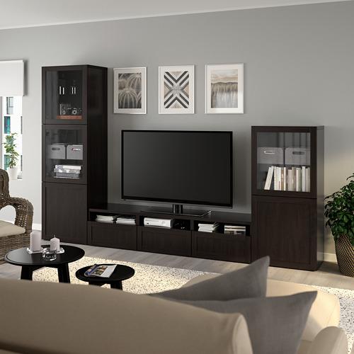 BESTÅ - 電視貯物組合/玻璃門, black-brown/Hanviken black-brown clear glass   IKEA 香港及澳門 - PE736816_S4