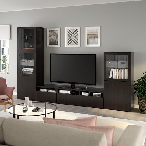 BESTÅ - 電視貯物組合/玻璃門, black-brown/Lappviken black-brown clear glass | IKEA 香港及澳門 - PE736822_S4