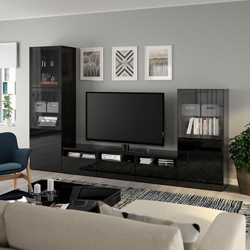 BESTÅ - TV storage combination/glass doors, black-brown/Selsviken high-gloss/black clear glass   IKEA Hong Kong and Macau - PE736827_S4