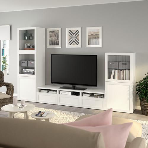 BESTÅ - 電視貯物組合/玻璃門, white/Hanviken white clear glass | IKEA 香港及澳門 - PE736825_S4