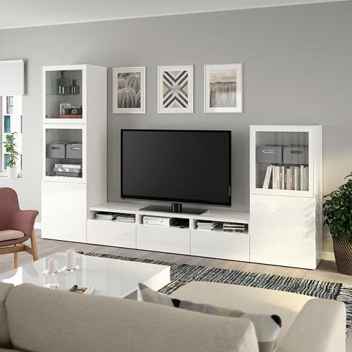BESTÅ - 電視貯物組合/玻璃門, white/Selsviken high-gloss/white clear glass | IKEA 香港及澳門 - PE736821_S4