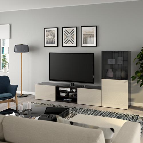 BESTÅ - 電視貯物組合/玻璃門, black-brown/Selsviken high-gloss/beige smoked glass | IKEA 香港及澳門 - PE736856_S4