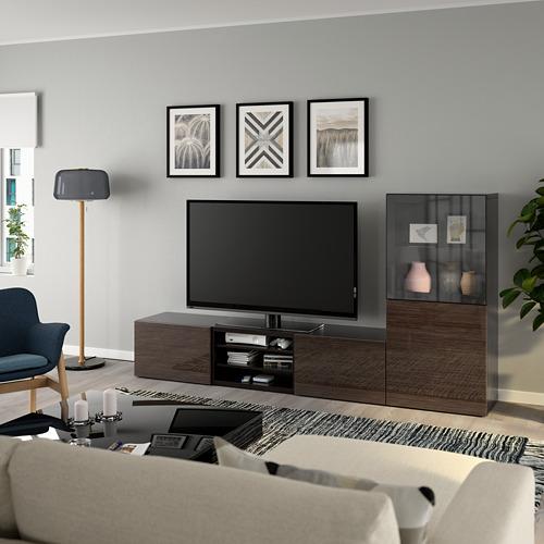 BESTÅ - 電視貯物組合/玻璃門, black-brown/Selsviken high-gloss/brown clear glass   IKEA 香港及澳門 - PE736855_S4