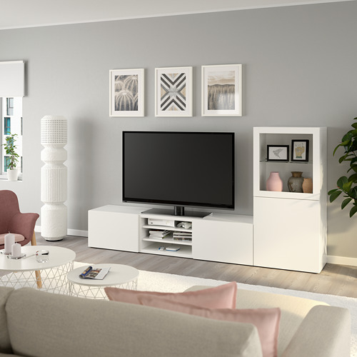 BESTÅ - 電視貯物組合/玻璃門, white/Lappviken white clear glass | IKEA 香港及澳門 - PE736849_S4