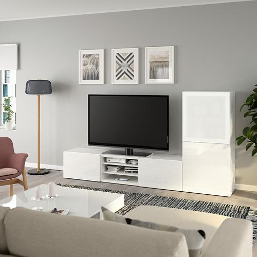 BESTÅ - 電視貯物組合/玻璃門, white/Selsviken high-gloss/white frosted glass | IKEA 香港及澳門 - PE736860_S4