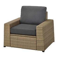 SOLLERÖN - armchair, outdoor, brown/Frösön/Duvholmen dark grey | IKEA Hong Kong and Macau - PE736948_S3
