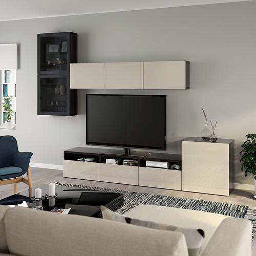 BESTÅ - 電視貯物組合/玻璃門, black-brown/Selsviken high-gloss/beige smoked glass   IKEA 香港及澳門 - PE736902_S4
