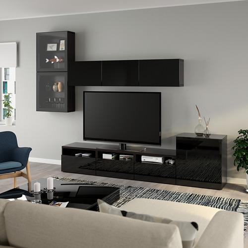 BESTÅ - 電視貯物組合/玻璃門, black-brown/Selsviken high-gloss/black clear glass   IKEA 香港及澳門 - PE736910_S4