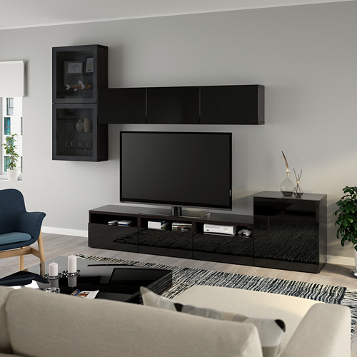 BESTÅ - 電視貯物組合/玻璃門, black-brown/Selsviken high-gloss/black smoked glass | IKEA 香港及澳門 - PE736911_S4