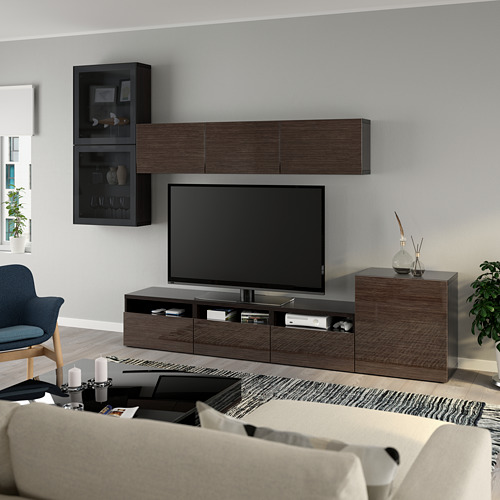 BESTÅ - 電視貯物組合/玻璃門, black-brown/Selsviken high-gloss/brown smoked glass | IKEA 香港及澳門 - PE736906_S4