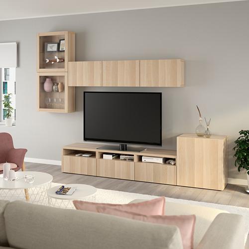 BESTÅ - 電視貯物組合/玻璃門, white stained oak effect/Lappviken white stained oak eff clear glass | IKEA 香港及澳門 - PE736899_S4