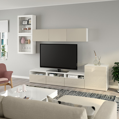 BESTÅ - TV storage combination/glass doors, white/Selsviken high-gloss/beige clear glass | IKEA Hong Kong and Macau - PE736909_S4