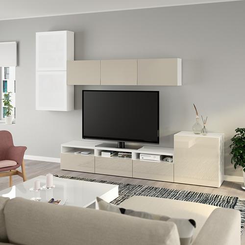 BESTÅ - 電視貯物組合/玻璃門, white/Selsviken high-gloss/beige frosted glass | IKEA 香港及澳門 - PE736897_S4