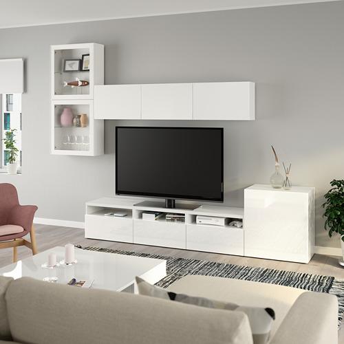 BESTÅ - 電視貯物組合/玻璃門, white/Selsviken high-gloss/white clear glass   IKEA 香港及澳門 - PE736904_S4