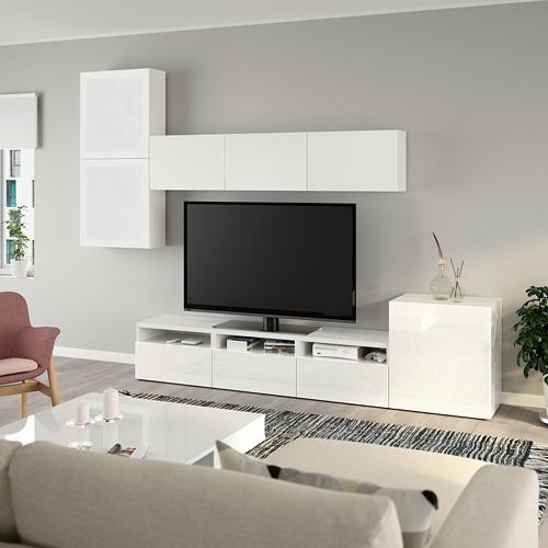 BESTÅ - 電視貯物組合/玻璃門, white/Selsviken high-gloss/white frosted glass | IKEA 香港及澳門 - PE736888_S4