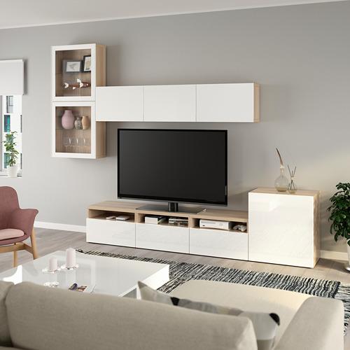 BESTÅ - 電視貯物組合/玻璃門, white stained oak effect/Selsviken high-gloss/white clear glass | IKEA 香港及澳門 - PE736908_S4