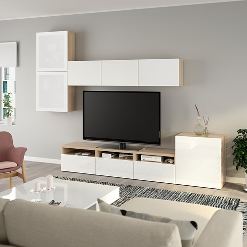 BESTÅ - 電視貯物組合/玻璃門, white stained oak effect/Selsviken high-gloss/white frosted glass | IKEA 香港及澳門 - PE736880_S4