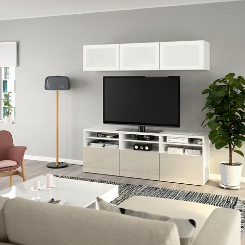 BESTÅ - 電視貯物組合/玻璃門, white/Selsviken high-gloss/beige frosted glass   IKEA 香港及澳門 - PE736930_S4