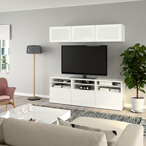 BESTÅ - 電視貯物組合/玻璃門, white/Selsviken high-gloss/white frosted glass | IKEA 香港及澳門 - PE736931_S4