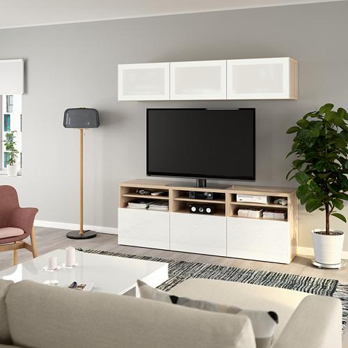 BESTÅ - 電視貯物組合/玻璃門, white stained oak effect/Selsviken high-gloss/white frosted glass   IKEA 香港及澳門 - PE736917_S4